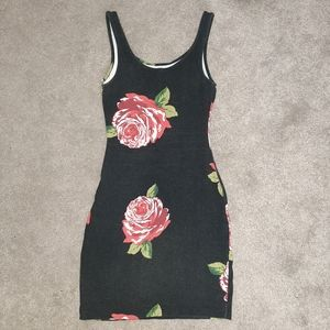 Exhilaration Black Pink Rose Tank Dress